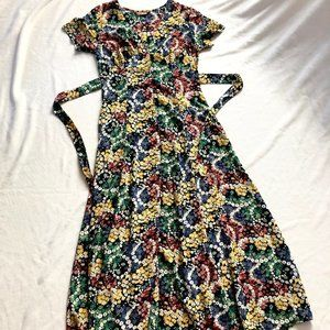 Vintage dress buttoned down floral dainty maxi M